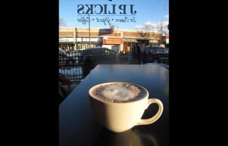 Hot chocolate was served at a table overlooking the street at J.P. Licks.